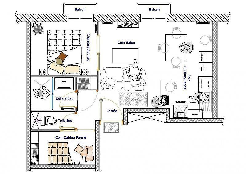 Plano del alojamiento - Apartamento en alquiler de temporada en Cauterets - 261112132