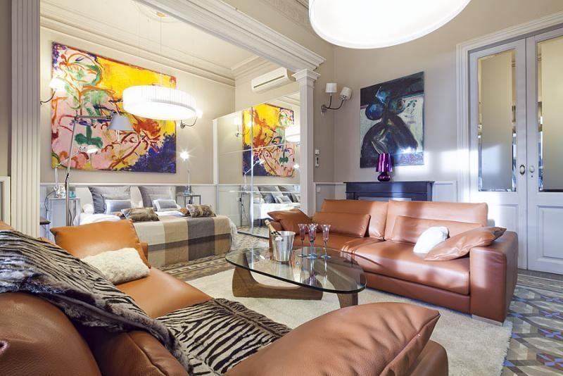Salón - Apartamento en alquiler de temporada en rambla Catalunya, Eixample dreta en Barcelona - 84382196