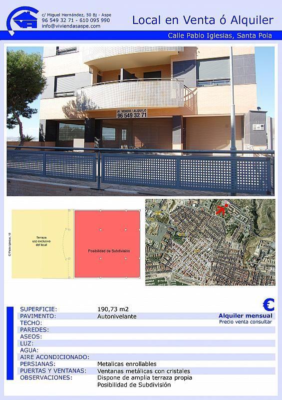 Local comercial en alquiler en calle Pablo Iglesias, Santa Pola - 355067136