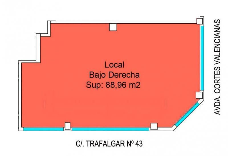 Plano - Local comercial en alquiler en calle Trafalgar, Aspe - 116579661