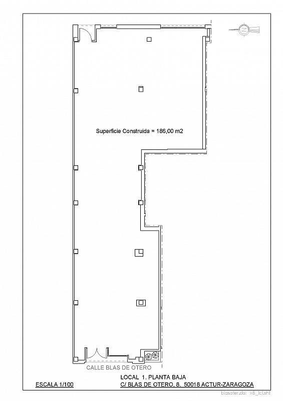 Plano - Local comercial en alquiler en calle Blas de Otero, Grancasa en Zaragoza - 329592486